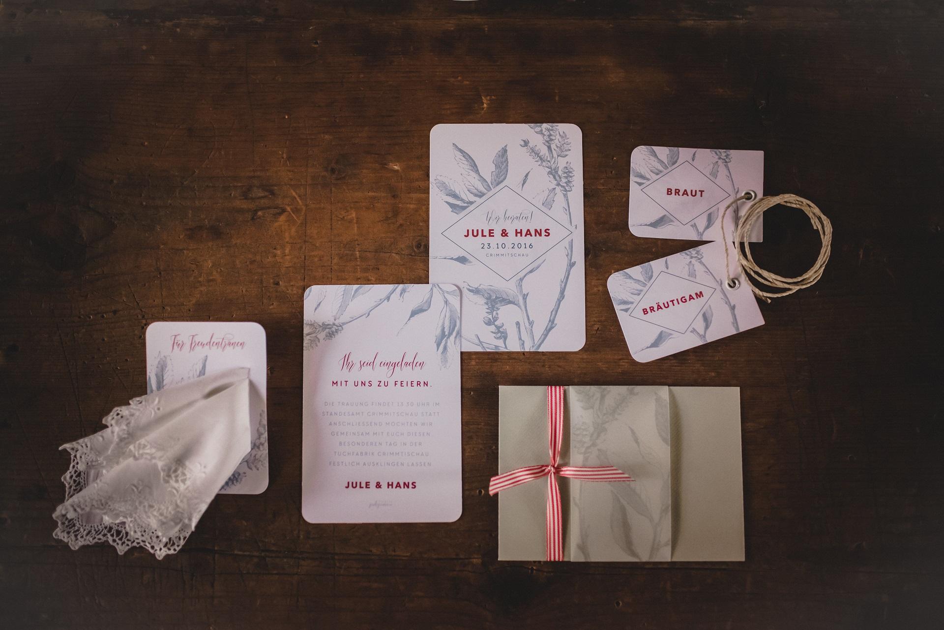 Hochzeitspapeterie rot grau weiß
